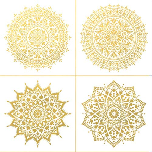 Alumuk 4 Stück Wand Schablonen 30 x 30cm Laserschnitt-Fliesen Schablone Vorlage Mandala für DIY Home Decor – Anwendung auf Wand Boden Fliesen Holz Stoff Möbel