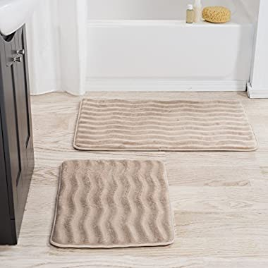 Lavish Home 2 Piece Memory Foam Bath Mat, Taupe