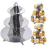 3 Unidades Soporte para Cupcakes Cartón de 3 Niveles, Plata Postre Soporte de Magdalenas de Redondo para Cumpleaños, Fiesta, Baby Showers