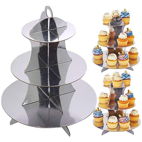 JINLE 3 Pezzi Alzata per Cupcake in Cartone Argento Supporto per Dessert a 3 Livelli Torre per Cupcake Rotonda per Compleanni, Feste, Baby Shower