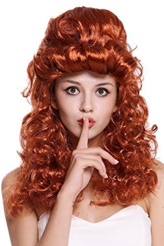 WIG ME UP - 90904-ZA131 Perücke Damen Halloween Karneval Barock Renaissance Hochsteckfrisur lang lockig rot