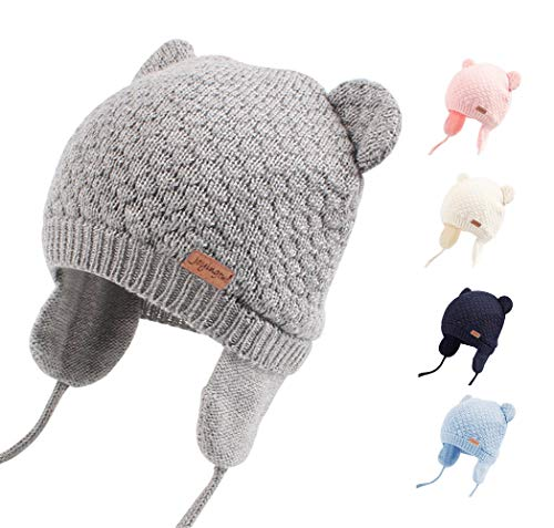 Joyingtwo Soft Warm Knit Wool Cute Bear Baby/Infant/Toddler Beanie Hat with Earflap for Winter/Autumn, Grey M