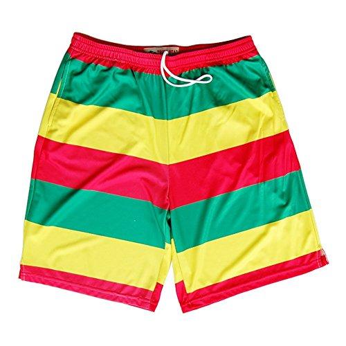 Rasta Flag Color Sublimated Lacrosse Shorts, Rasta, Youth Large