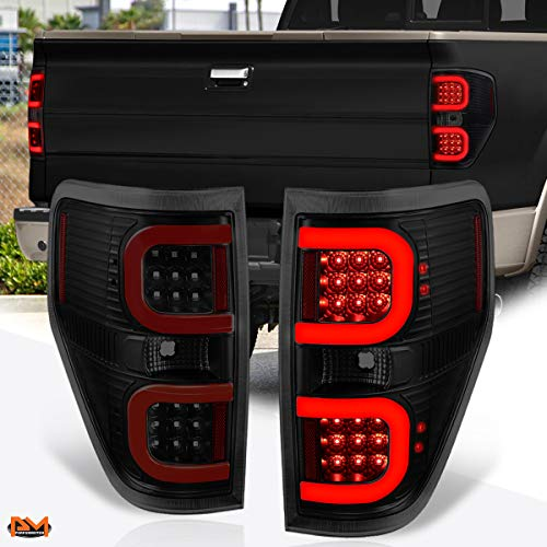 Compatible with Ford F-150 Pickup 09-14 Dual Red LED C-Bar Tail Light Brake/Stop Lamp Tinted
