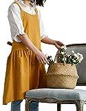 Nanxson Delantal de Mezcla de algodón/Lino Suave con Espalda Cruzada, Delantal japonés, cocinar jardinería CF3089 (Amarillo)