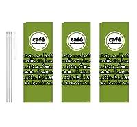 デザインのぼりショップ のぼり旗 3本セット cafe restaurant 専用ポール付 レギュラーサイズ(600×1800) PAC439F