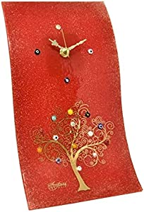 SOSPIRI VENEZIA Reloj de pared rectangular ondulado de cristal de Murano árbol de la vida, 16 x 30 cm, técnica de cristal,decoración murrina y hoja dorada,hecho a mano por artesanos venecianos(rojo)