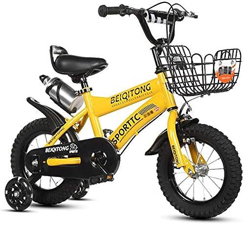 LI HAO SHOP Kinderfahrrad, Babyfahrrad, Kinder-Mountainbike, Mountainbike, Kindergeschenk, Babygeschenk mit Blitzradkessel (Farbe   Gelb, Größe   14 in)