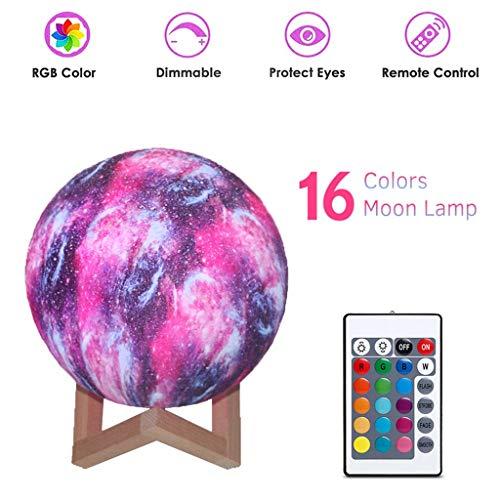 3D LED De Luz 16 Colores Cambian Estrellada Luna De La Estrella De La Noche Decoración Luz Planeta Hogar Regalo De Los Niños Brillantes