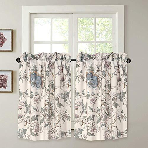 "H.VERSAILTEX Kitchen Curtains 36 Inch Length Vintage Floral Beige Sage Blue Curtain Tiers Pair for Bathroom/Kitchen Windows Rod Pocket Small Curtains for Kitchen (2 Panels, Each 29"" W x 36"" L)"