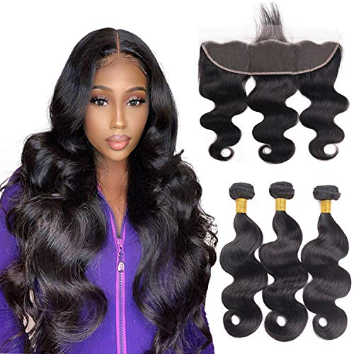 10A 13x4 Ear to Ear Lace Frontal Closure with Hair Bundles Brazilian Virgin Hair 3 Bundles Body Wave with Closure for Women Natural Black Color (10 12 14+10 frontal)