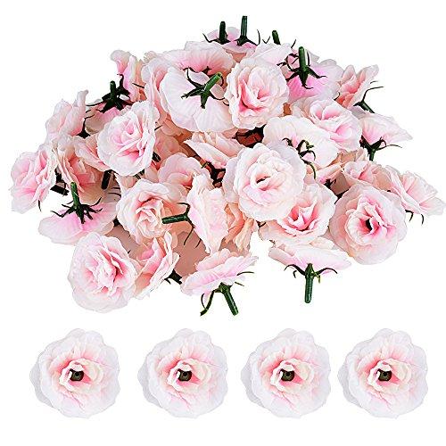 JNCH 50pcs Cabezas de Rosa Flores Rosa Artificiales en Seda para Manua