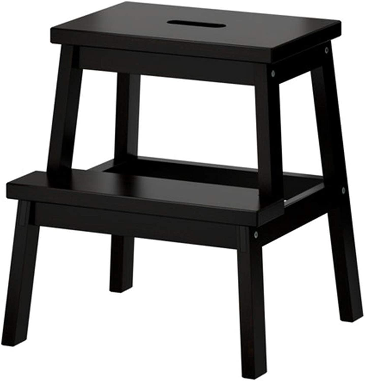 Stools Footstool Stool Solid Wood Stool Home Seat Panel Stool Adult Wood Square Stool Modern Coffee Table Stool Low Stool Living Room FENGMING (color   BLACK)