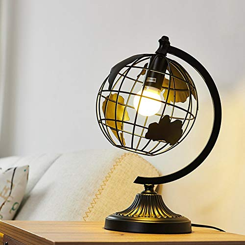 Nordic Minimalist Round Wrought Iron Table Lamp Personality Creative Living Room Bedroom Study Desk Lamp Globe Theme Table Light (Color : Black)