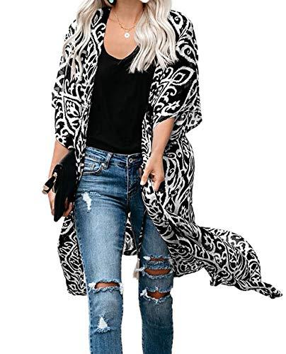 Kimono Cardigan Mujer Largo Verano Ropa de Playa Pareos Manga Corta Retro Impreso Blusa Tunica Vestido de Playa Cover Up (Talla única, Negro)