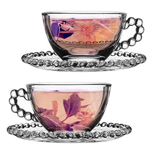 Tea for 2 Gift Set - 150ml Beaded Glass Teacups & Saucers Gift Idea