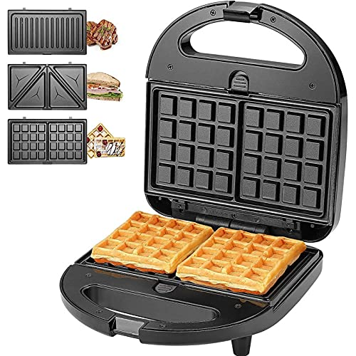 3-in-1 Electric Waffle Maker ,3-in-1 Panini Press , 750W Sandwich Maker Sandwich Grill,...