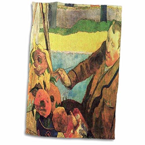 3D Rose Foto von Gauguin Gemälde von Van Gogh N Sonnenblumen Handtuch/Sporthandtuch, 15 x 22 cm
