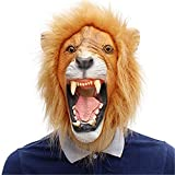 DUDUCHUN Accesorios de Halloween máscara de Cabeza de león mascarilla de Fiesta de cumpleaños de Mascarada de látex Completo Animal Fiesta de Carnaval Cosplay