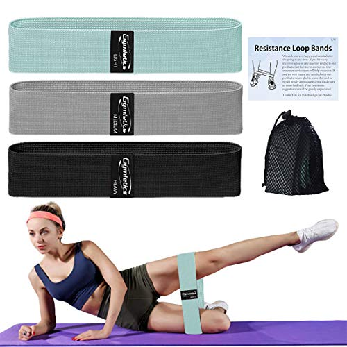 Gymletics Resistance Exercise Loop Bands, Fabric Non Slip Booty Bands Workout Bands, 3 Pack Fitness Bands for Activate Glutes, Thigh, Legs and Butt, with Carry Bag and Exercise Booklet