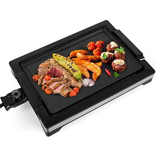 Gotoll Plancha de Cocina Antiadherente,2000W Parrilla Eléctrica Temperatura Ajustable,Libre de PTFE,PFOA,Bandeja Recogegrasa