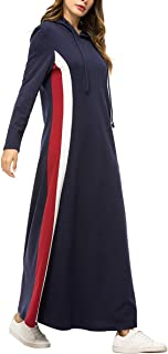 zhbotaolang Women Muslim Loose Maxi Dress - Ladies Hooded Dubai Abaya Kaftan Long Sleeve Islamic Clothing