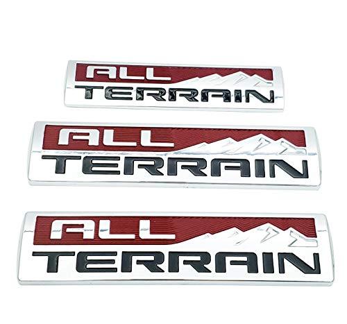 3X All Terrain Emblem Badge 3D Side Door Fender & Tailgate Nameplate Replacement for 2014-2017 Sierra (Chrome Red)