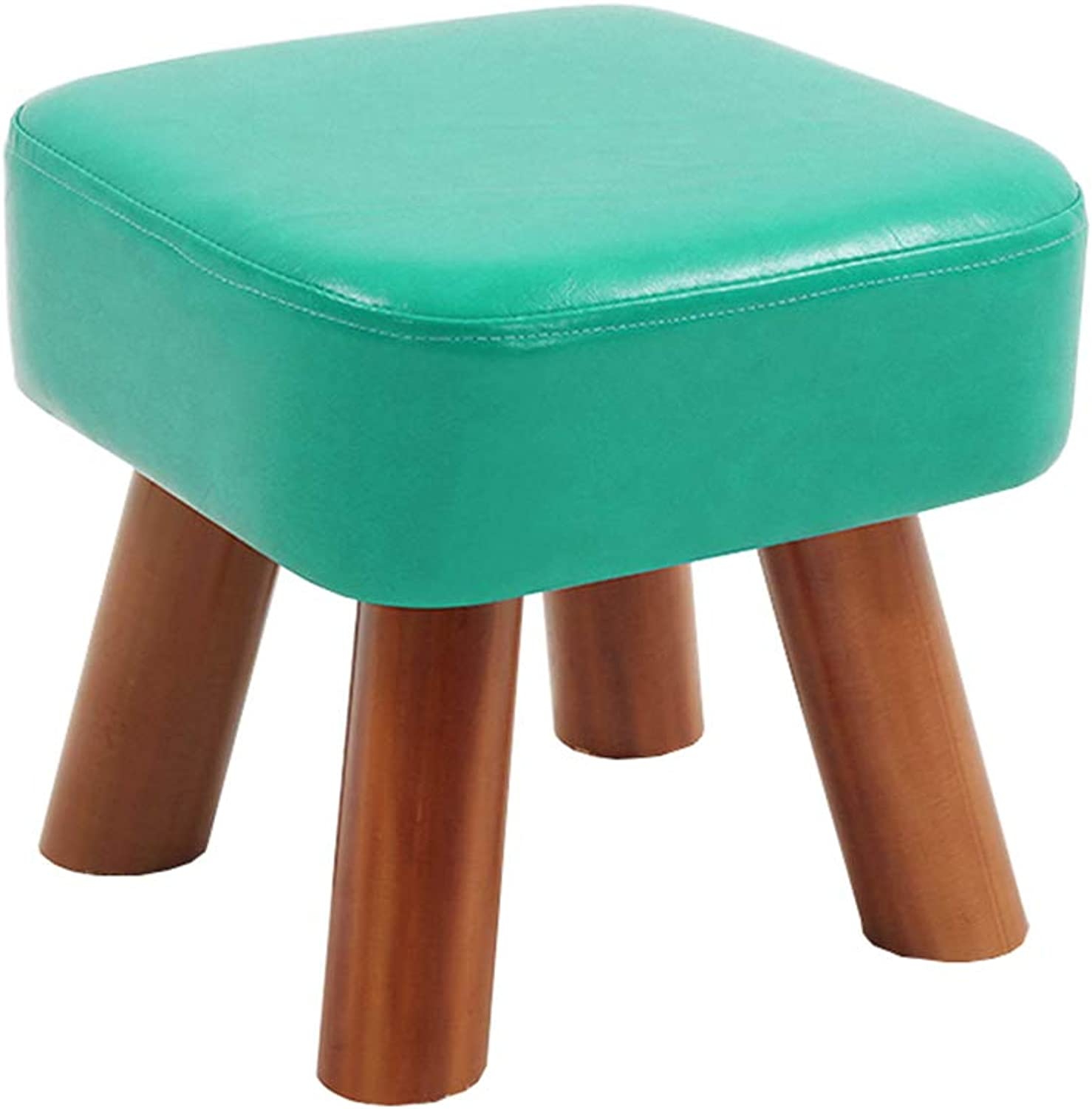 Small Stool Household Solid Wood Footstool Artificial Leather Home Anti-Slip Stool 5 colors 2 Sizes (color   bluee, Size   28  28  25cm)