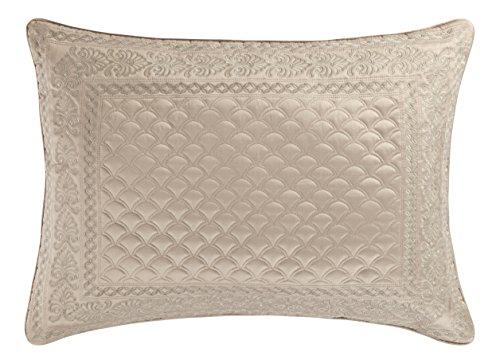 Five Queens Court Zarah Satin Damask Embroidered Pillow Sham Standard, Taupe