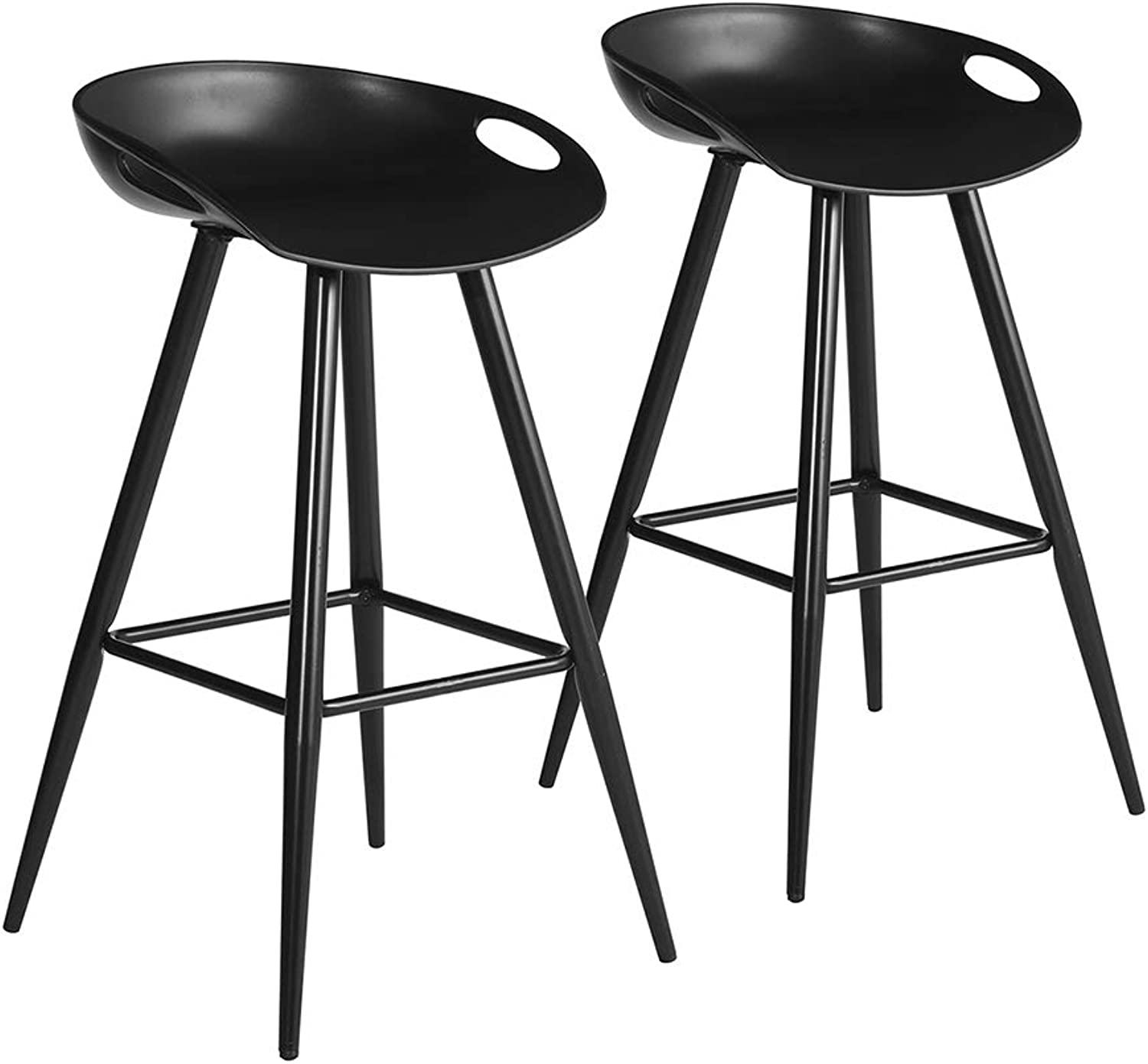 HOMY CASA Barstools Set of 2 Patio Counter Height Chair PP Seat with Metal Legs for Home Bar, Pub (Black Legs)