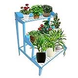 Mensola per piante Supporto per piante Espositore per Fiori da Giardino in Metallo Grande a 3 Piani Supporto per vaso di fiori Supporto per fiori trapezoidale Supporto per scala Scaffale per Fiori