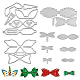 6 Set Bow Cutting Dies, Unicorn Bow Die Cuts for Making Hair Bows Scrapbooking DIY Crafts