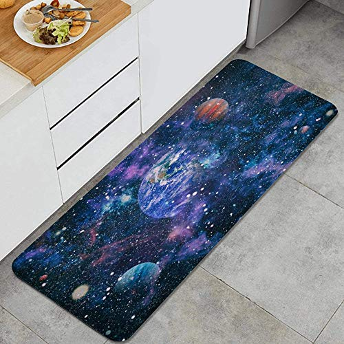 SURERUIM Alfombra de Cocina, Espacio Celeste Ciencia ficción Universo Fantasía Alta Naturaleza Nebulosa Astronauta,tapete Decorativo para Piso de Cocina con Respaldo Antideslizante, 47'x17'