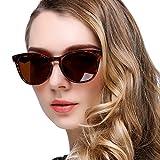 KANASTAL Gafas de Sol Mujer Carey Polarizadas Clásicas Vintage Retro con Protección UV400 de Moda Señora Para Conducir Viajes Playas Pesca Golf (Marrón)