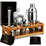 Soing 24-Piece Cocktail Shaker Set Perfect Home Bartending Kit for Drink Mixing,Stainless Steel Bar Tools With Stand,Velvet Carry Bag & Recipes Included (Bar Tools Set With Stand)