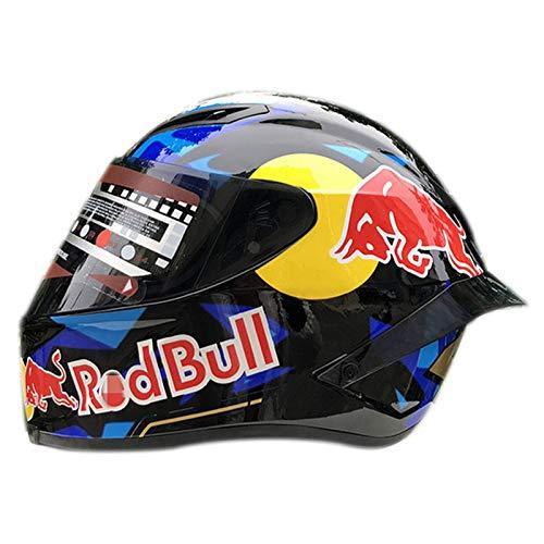 Casco de motocicleta de campo traviesa, integral Red Bull Casco de motocicleta de campo traviesa Certificación ECE para motocicleta de hombre Carreras de montaña B,XXL (63-64cm)