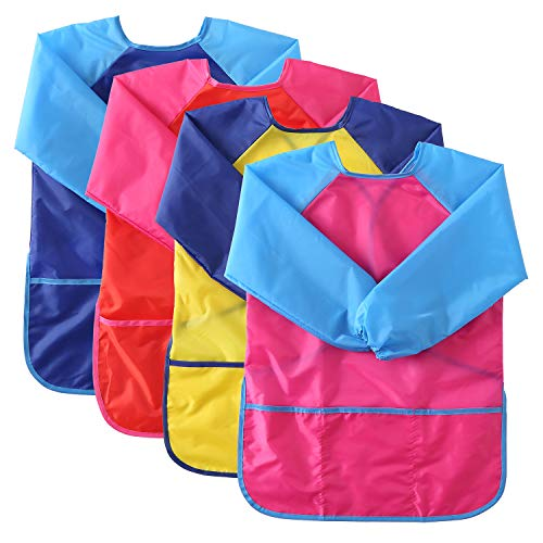 Suwimut 4 Pack Kids Art Smock Apron, Waterproof Children Artist Painting Apron Long Sleeve with 3 Pockets for Age 3-6 Years Old Boys and Girls