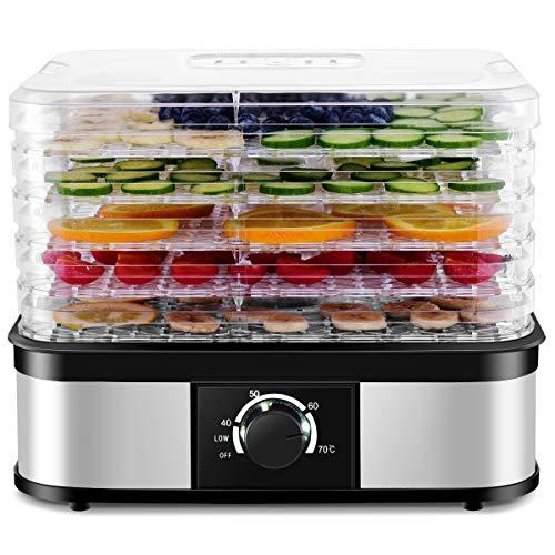 COSTWAY Déshydrateur Alimentaire à 5 Plateaux Transparents Empilables, Avec Puissance de 245W, Pour Viande, Légumes, Fruits etc. Support de Poids de 1kg par Etage