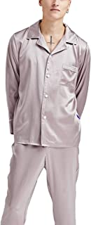 LZJDS Plain Men's Mulberry Silk Pajamas Home Service Suit Long-Sleeved Trousers 2-Piece Pjs Set Nightshirts Sleepwear,dark...