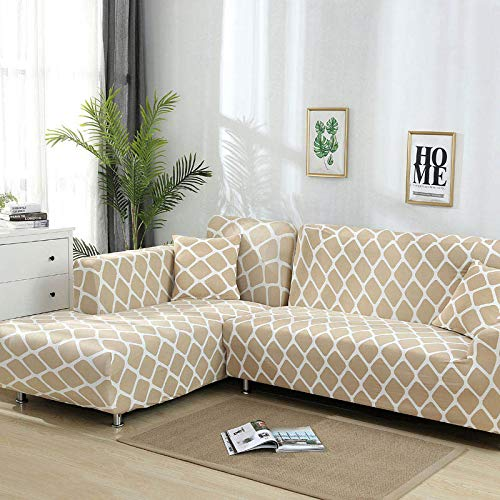 WXQY Funda de sofá geométrica, Funda de sofá Modular, Funda de sofá Flexible para Sala de Estar, sofá Chaise Longue de Esquina en Forma de L A14 2 plazas