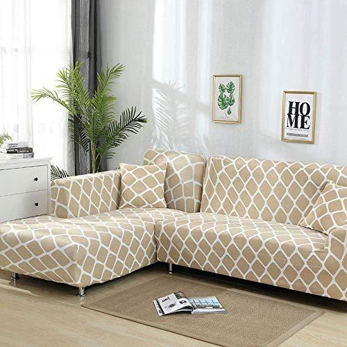 Juego de Fundas geométricas para sofá, Funda de sofá, Funda elástica para sofá para Sala de Estar, Apto para sofá de Esquina Chaise Longue A15 de 2 plazas