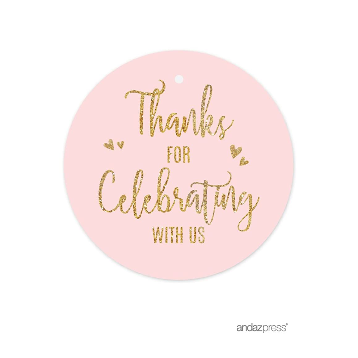 Andaz Press Blush Pink Gold Glitter Print Wedding Collection, Round Circle Gift Tags, Thank You for Celebrating with US, 24-Pack