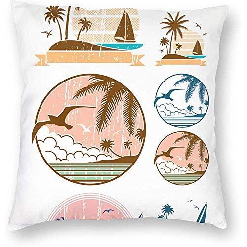 Eliuji kussensloop, kussensloop en slaapbank, beddengoed, zacht en comfortabel, 45 x 45 cm, het strand is mijn gelukkige plek