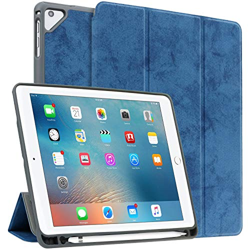 Utryit Case for iPad 9.7 2018/2017, iPad 6th /5th Gen Case/2016 iPad pro 9.7 Case Stand with Pencil Holder and Auto Sleep/Wake Function Soft Back Smart Cover for iPad Air 2/Air 1 (Deep Blue)