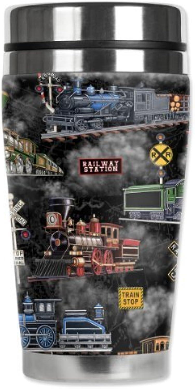 Mugzie Steam Locomotives voyage Mug with Insulated Wetsuit Cover, 16 oz, noir by Mugzie