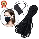 ZCZY Cuerda Elastica,3mm Redondo Cintas elásticas para Costura Y Manualidades DIY Cordon, Elástico de Cuerda Tela para Coser Ropa (Negro-10 yardas)