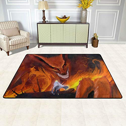 Japanese Anime Naruto Character Nine Tailed Fox Floor Mat Stylish Comfortable Area Carpet 3D Printed Durable Anti-Slip Carpet Welcome Rug Family Decor for Living Room,Stairs