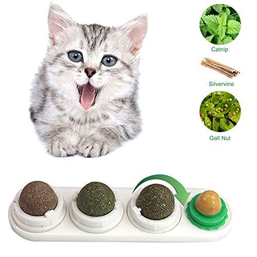 Draaibare Catnip Ball & Cat Snack Set, EZSMART Afneembare Lickable Cat Treats Stick-on Wall Toy, Cat Treats Sugar, Kitten Nutrition Treat Ball & Matatabi Ball & Gall Nut & Cat Mint Ball (Wit)