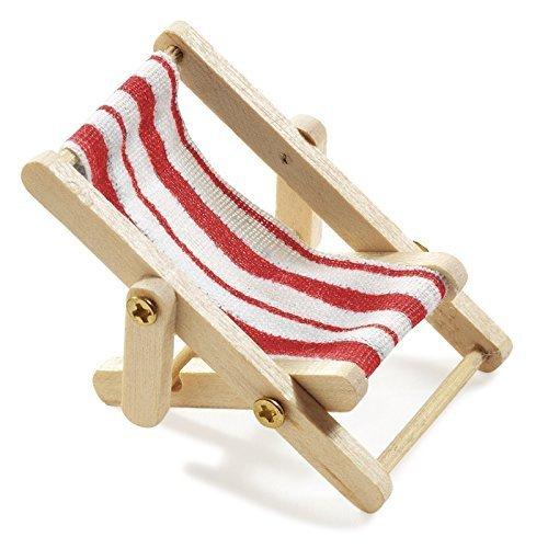 Hobbyfun 2 X Deko-Liegestuhl, Holz, rot-weißer Stoffsitz, 5 x 3,5 cm