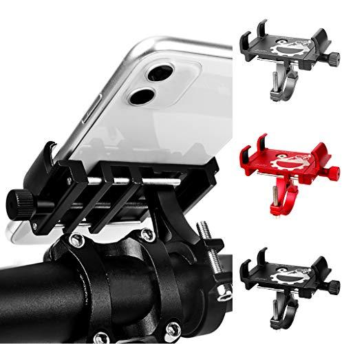 HSKB Telefoonhouder, fiets, aluminium, telefoonhouder voor op de fiets, motorfiets, anti-shake, mobielhouder, universeel voor smartphones van 3,5-6,2 inch